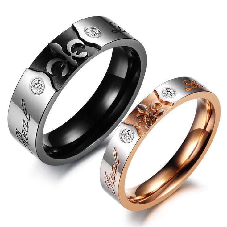 Barato 316L jóia de aço inoxidável casal Set anel banhado a ouro Iris dele e dela promessa anéis de noivado Wedding Band, Compro Qualidade Anéis diretamente de fornecedores da China:                Sem limite de ordem mínima                                    Frete grátis para 35 países