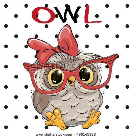 Cute Cartoon Owl with glasses on a dots background