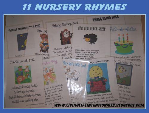11 Nursery Rhyme Sheets: Nurseryrhymes