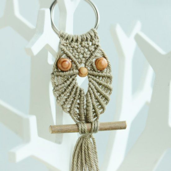 How to make a Macrame Owl - Decoration for keys, key ring or necklace.