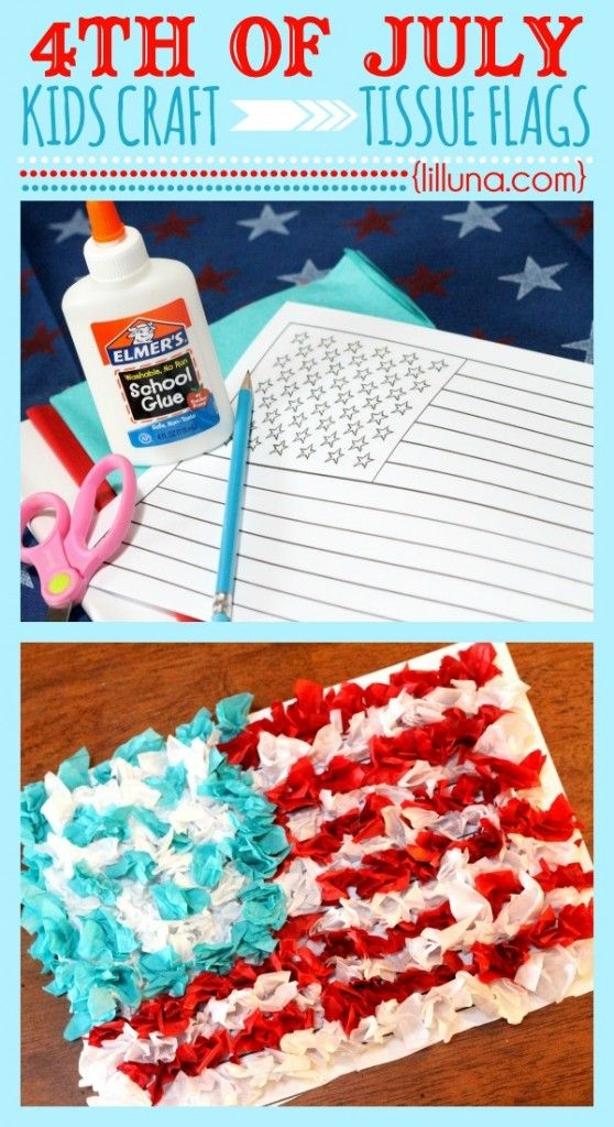 Fourth of July Tissue Flag Kids Craft from @Kristyn {lilluna.com}. This is such an easy and fun American Flag craft for your little ones! All you need is this printable American Flag Sheet, glue, pencil or pen, red, white and blue tissue paper.