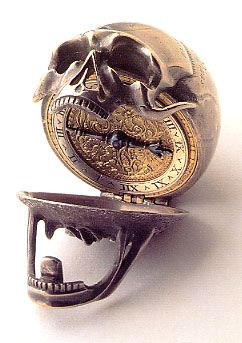 "Memento Mori watch from the Ashmolean museum. Watches like skulls whose jaws drop open to reveal the time - Incerta Mortis Hora - ""The Hour of Death is Uncertain"""