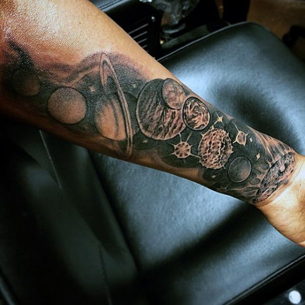 Splendid Planets In The Universe Tattoo On Forearms For Males
