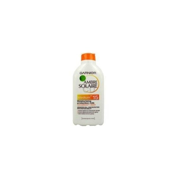 Buy Garnier Ambre Solaire Medium Moisturising Milk SPF 15, £10.25,... (96 CAD) ❤ liked on Polyvore featuring beauty products, bath & body products, sun care and garnier