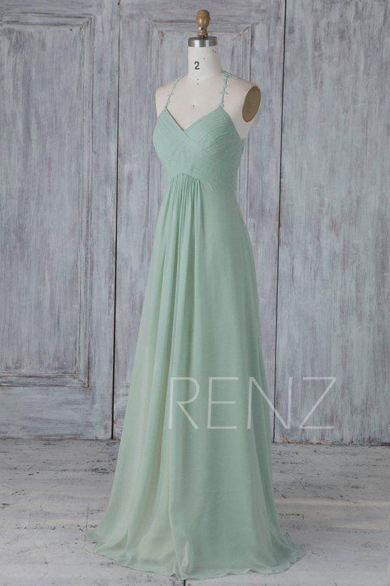 Bridesmaid Dress Dusty Mint Chiffon Wedding Dresslace Halter Etsy