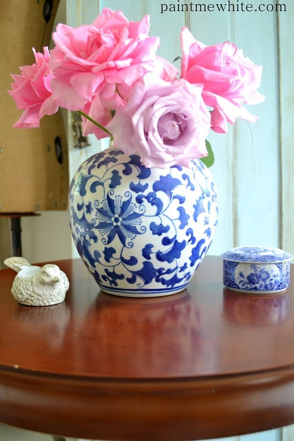 Paint Me White Pink Roses In Blue Vase Blue White