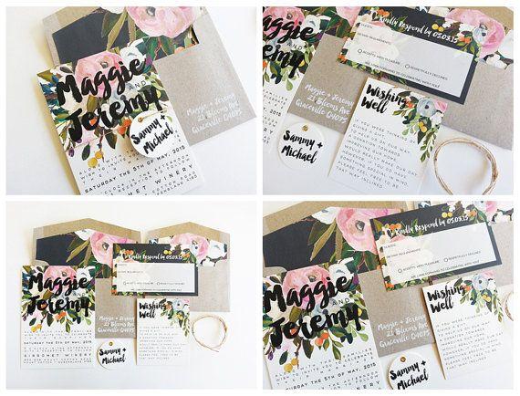 Lola Wedding Invitation Suite by MisiuPaperware on Etsy