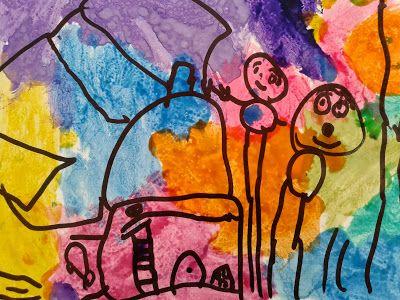 Pintamos el fondo con temperas de colores y  dibujamos con marcador indeleble negro. Edad: 4 años