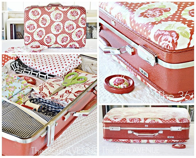 Mod Podge Suitcase {tutorial} - must find fabric to match Grandma's gold train case.