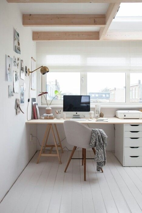 Studio desk // work space // home office in white and neutral colors