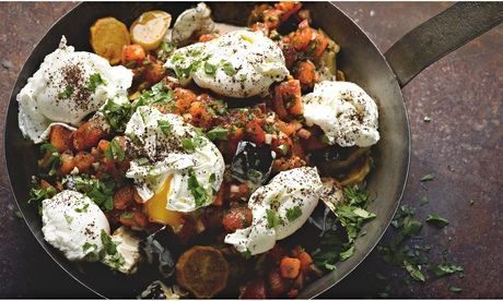 Yotam Ottolenghi's aubergine, potato, tomato brunch: 'A stunning, unusual dish.' Photograph: Colin Campbell for the Guardian. Food styling: Claire Ptak