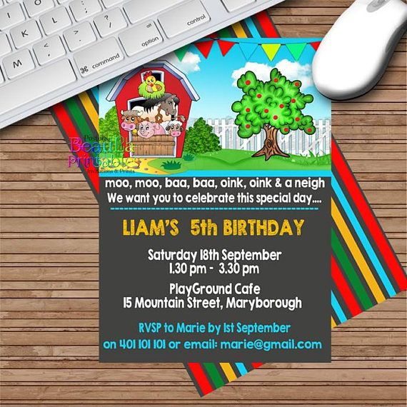 Farm Birthday Invitation Birthday Invitations Farm Invite