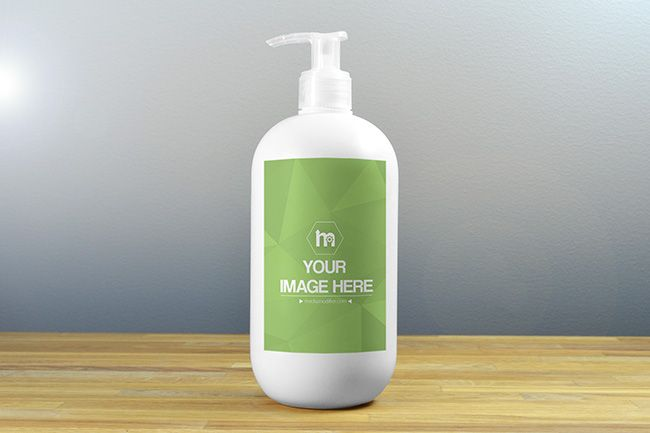 Plastic Dispenser Bottle Label Mockup - Mediamodifier - Online mockup generator