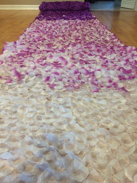 Custom rose petal wedding aisle runner by bighairandeyeliner