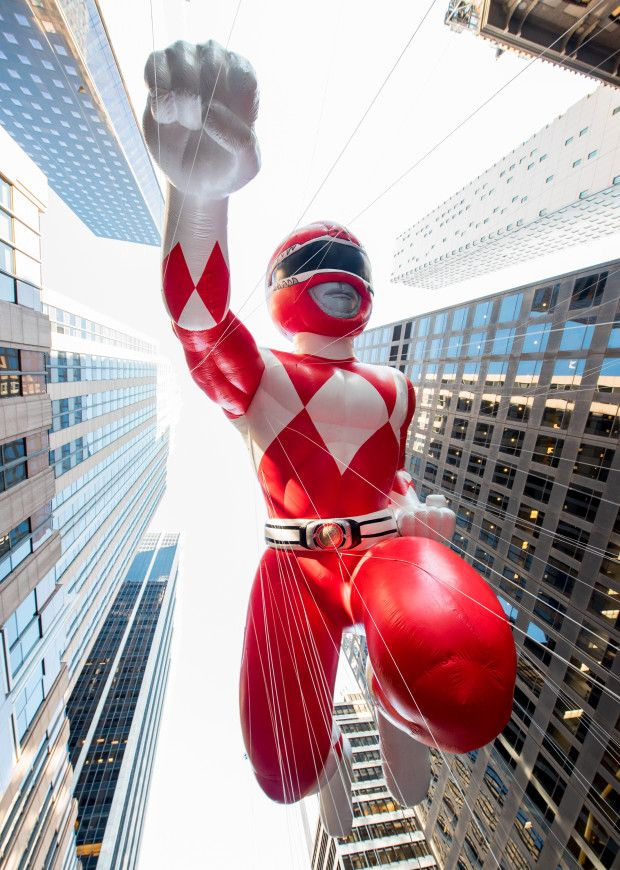 The 91st annual Macy's Thanksgiving Day Parade in New York City  -  November 23, 2017.  Red Power Rangers Balloon at the 91st Macys Thanksgiving Day Parade on November 23, 2017 in New York City.  (Photo by Noam Galai/Getty Images for Saban Brands)