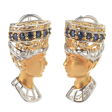 154-788 - Gems en Vogue Cleopatra Sapphire Sculpted Portrait Earrings w/ Omega Backs