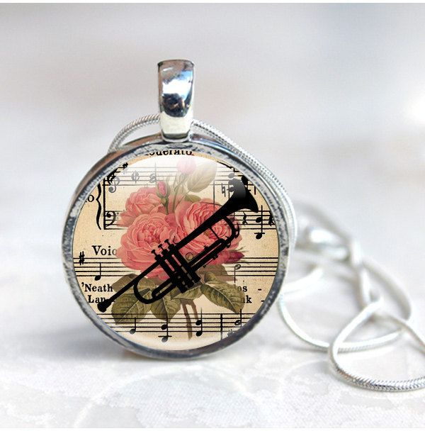 New to GlassCharmed on Etsy: Trumpet Jewellery Floral Necklace with Trumpet Silhouette Wind Instruments Trumpet Player Trumpet Necklace Gift for Music lover (12.99 GBP)