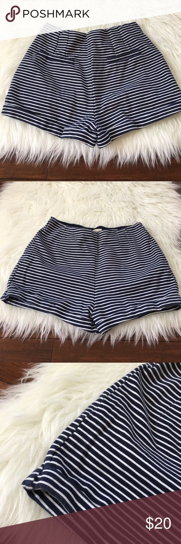 "Hollister High Waist Navy Striped Nautical Shorts Excellent used condition. No stains or holes. High waisted. 10.5"" long. 2"" Inseam. Size small. 83% cotton, 15% polyester, 2% elastane. Very stretchy. CW012 Hollister Shorts"