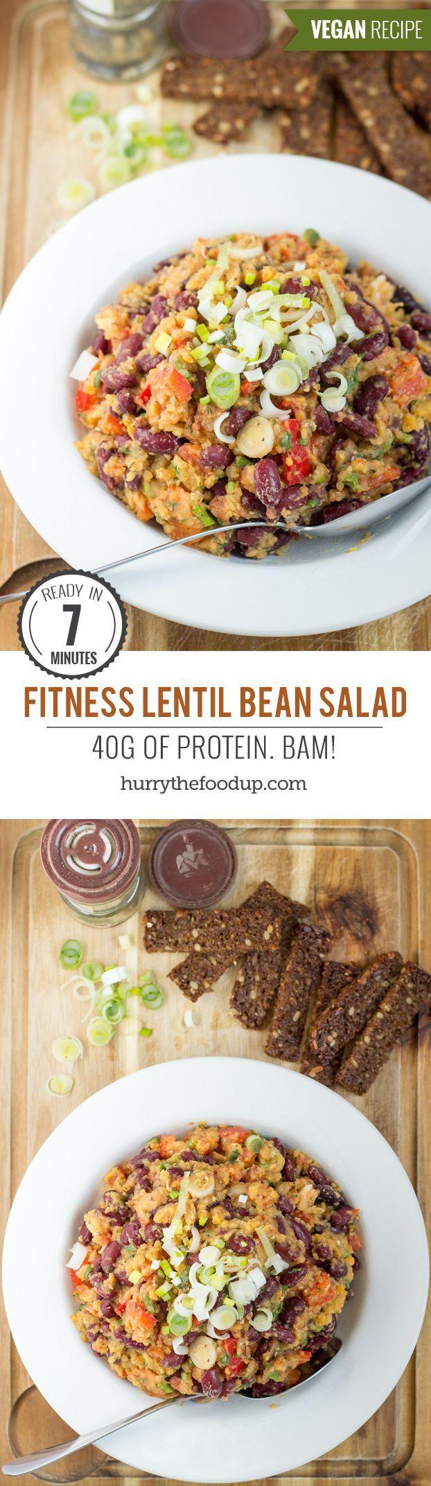 Fitness Lentil Bean Salad. 40g per bowl. Ready in 7 minutes | #vegetarian #workout | http://hurrythefoodup.com