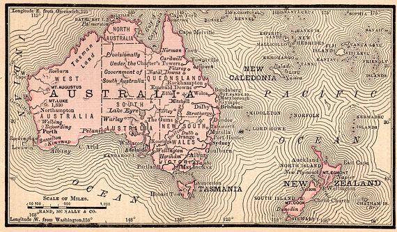 1888 Antique Australia Map Vintage Oceania Map Print Miniature Gallery Wall Art Anniversary Gift For Birthday Wedding 11627 Miniature Map Australia Map Map Print