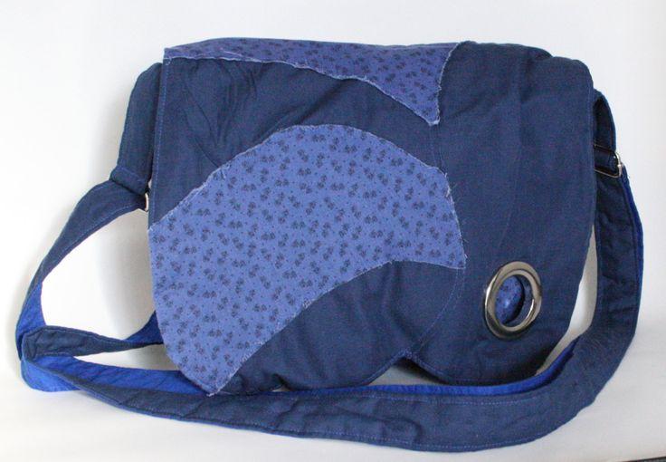 Sac messager bleu Sac à bandoulière ajustable Sacoche bohème Sac hippie bleu de la boutique Mafelou sur Etsy