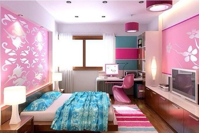 Sky blue berry pink girl 39 s bedroom ideas for teens this for Pink and blue bedroom