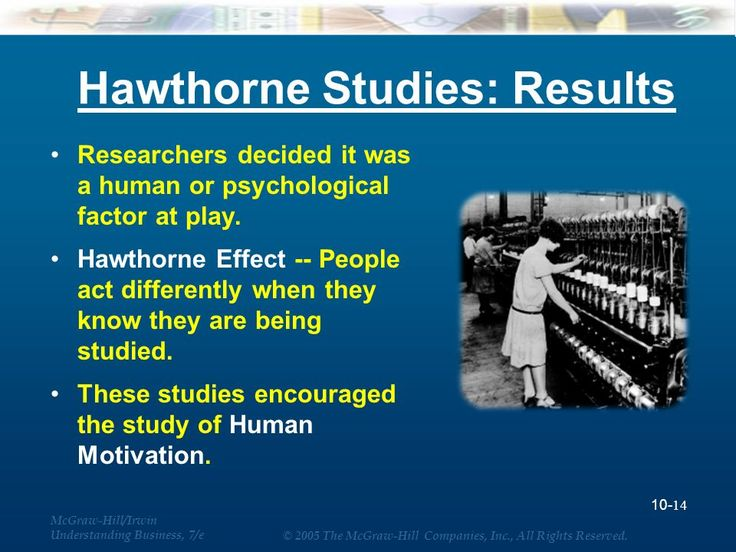 four main conclusions from the hawthorne studies Four general conclusions were drawn from the hawthorne studies: 1 the aptitudes of individuals (as measured by industrial psychologists) are imperfect predictors of job performance.