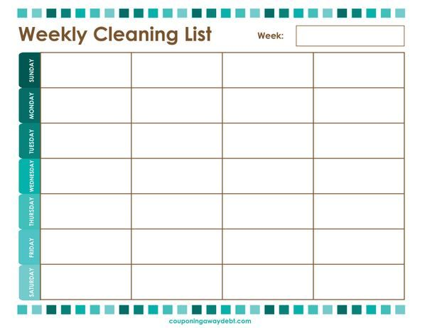 Keep your whole house cleaner with this free weekly cleaning list #printable