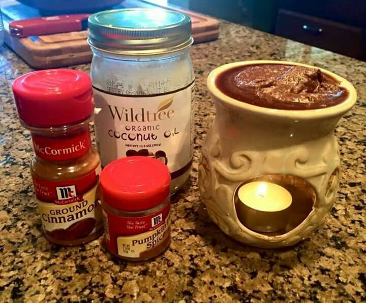Natural Holiday fragrance: 3 tbls Coconut Oil, 3 tspn Pumpkin Pie Spice & 1/2 tspn Cinnamon - put on wax warmer and enjoy!