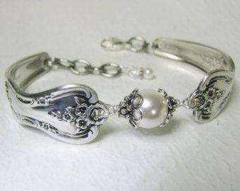 Zilveren lepel armband Avondster 1950 met door SpoonfestJewelry