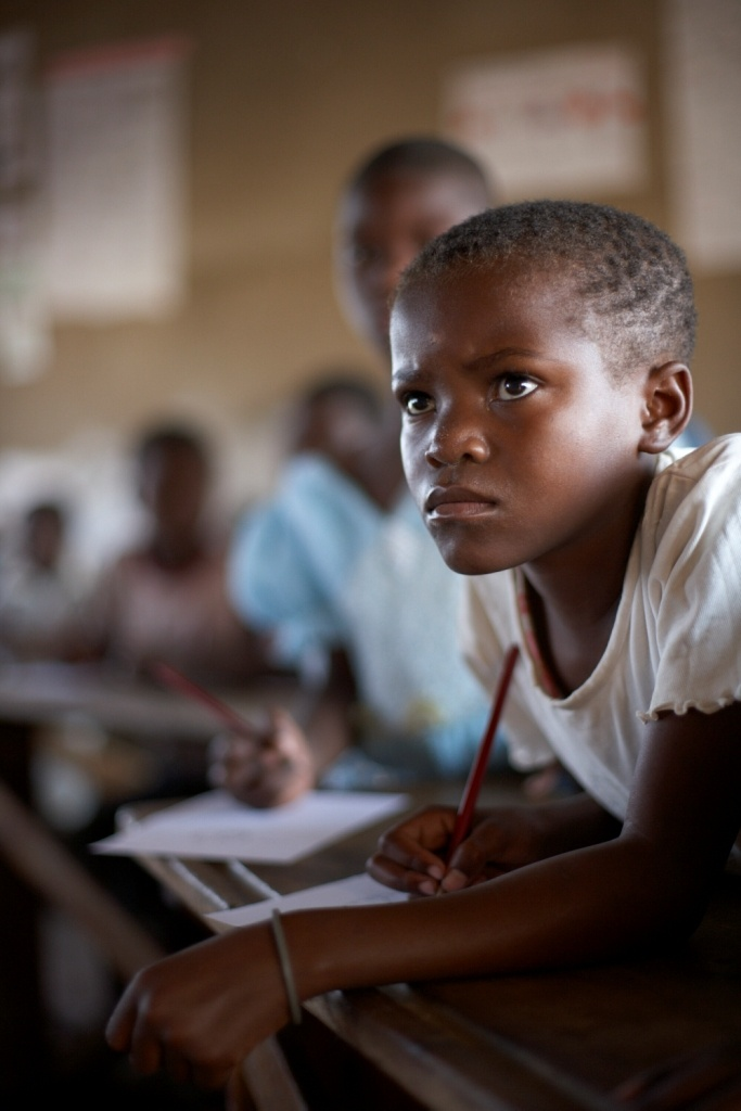 Wow wish I concentrated this hard when I was at school!!!  One of the Zambian children hard at work