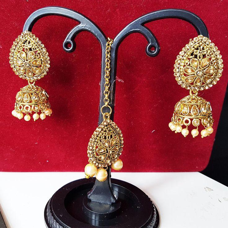 Ethnic Indian Earrings Tikka Set Head Piece Antique Gold Jewellery Bridal
