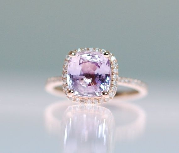 Pink Sapphire Ring 14k Rose Gold Diamond Ring 3.22ct Square Cushion Lilac Peach Sapphire Engagement Ring.Engagement ring by Eidelprecious #eidelprecious