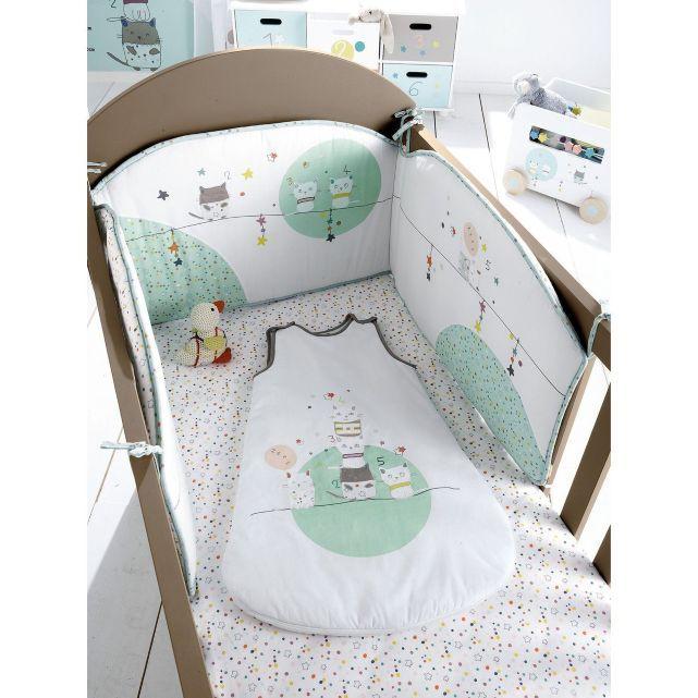 Tour de lit bébé brodé thème Chat perché, Vertbaudet