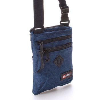 #novinka Praktická látková taštička na doklady Enrico Benetti v modré barvě. Uvnitř přihrádka na zip a na mobil bez zipu. Zepředu jsou další dvě kapsičky na zip. Materiál pevný textil.
