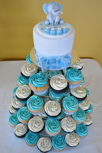 Baby Blue Cupcake Tower By Cupcakes By Paolo Via Flickr