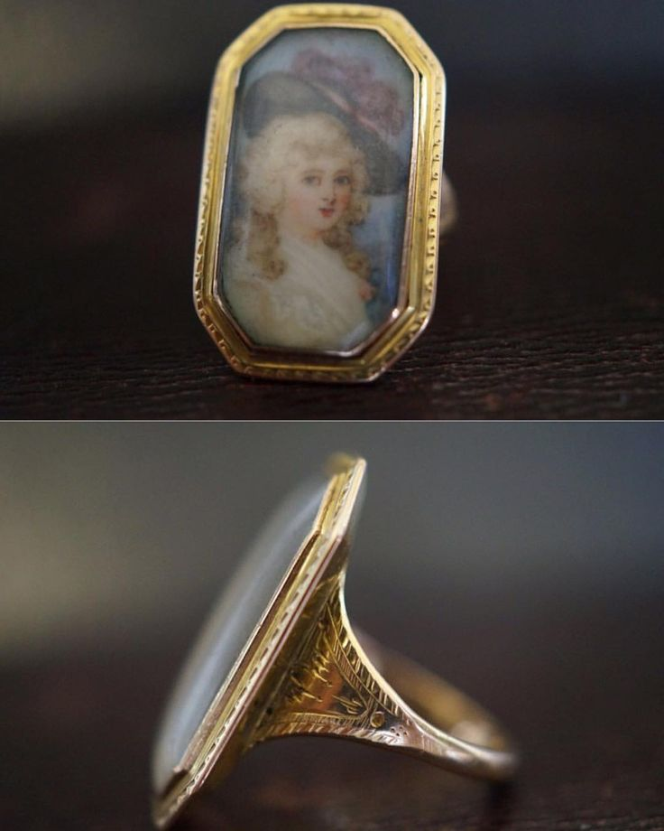 A very finely hand painted portrait ring, c1780.