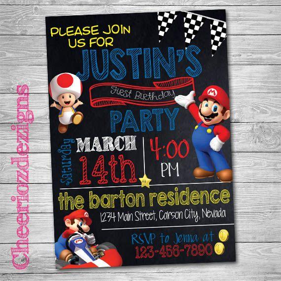 Mario Kart Birthday Invitation- Mario Party -Boy or Girl - Any Age- Custom…