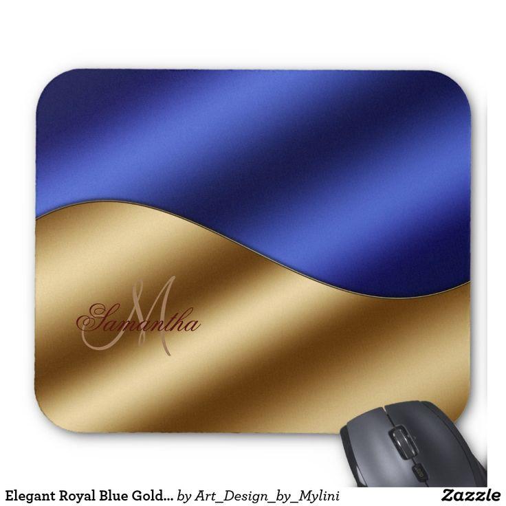 Elegant Royal Blue Gold Yin Yang Wave Monogram