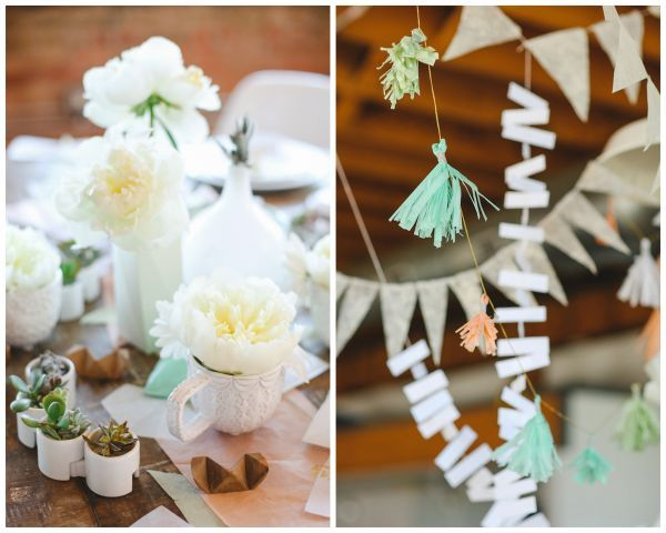 Bohemian style brunch // paper garland, potted succulents, white peonies