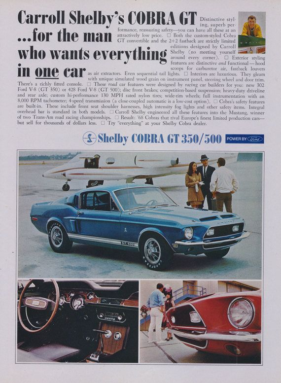 1968 Shelby Cobra GT Mustang Ford Car by AdVintageCom on Etsy                                                                                                                                                                                 More