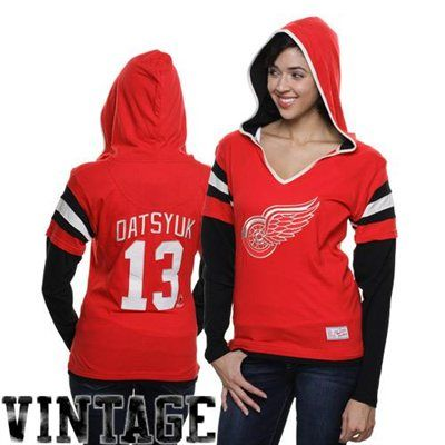 Old Time Hockey Pavel Datsyuk Detroit Red Wings Ladies Avalon Player Hoodie - Red/Black