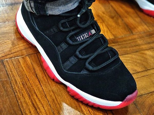 Air Jordan 11 Black and Red in Nubuck