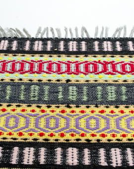 Colorful pattern. Handwoven with great skills. Lovely vintage rag rug from Sweden