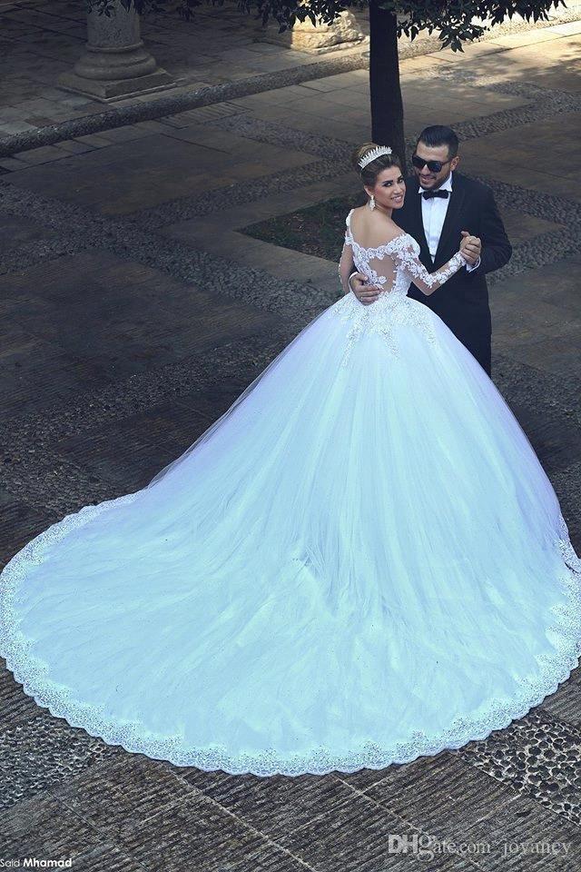 2016 Vetidos Arabien Spitze Hochzeit Ballkleider mit langen Ärmeln Luxus Schatz Tulle Applique Perlen Brautkleider Kapelle Zug Brautkleider