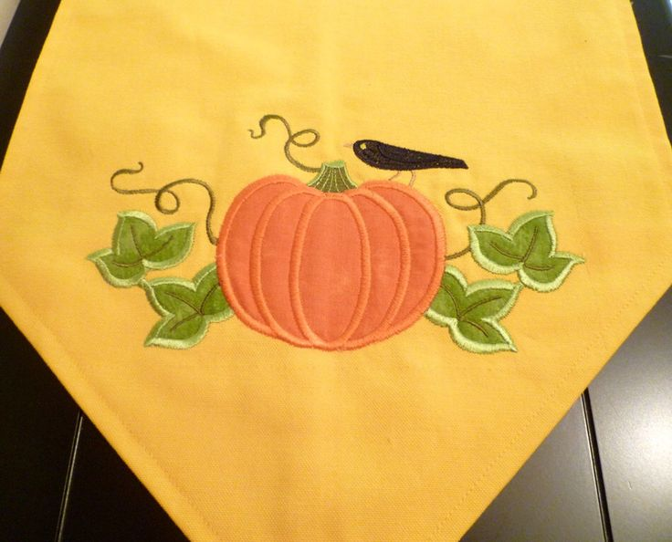 Fall table runner, Pumpkin table runner, appliqued table runner, Thanksgiving table runner by HomeMakings on Etsy https://www.etsy.com/listing/235575837/fall-table-runner-pumpkin-table-runner