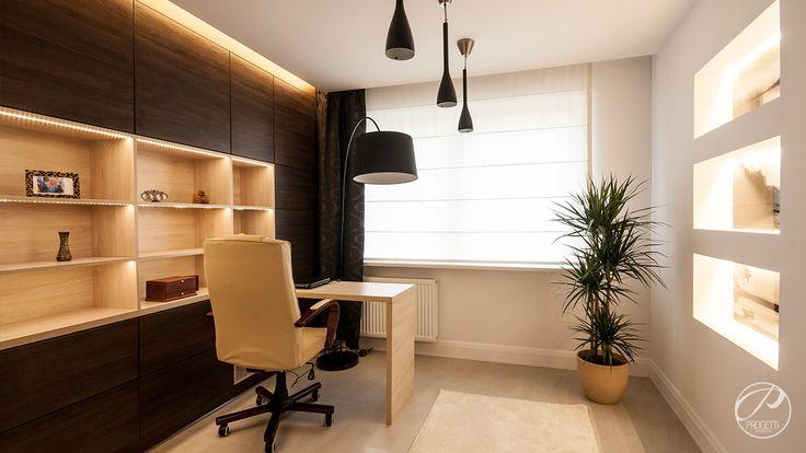 Apartament w Łomiankach  Przestrzeń do pracy. Meble wykonane na zamówienie.  Progetti Architektura