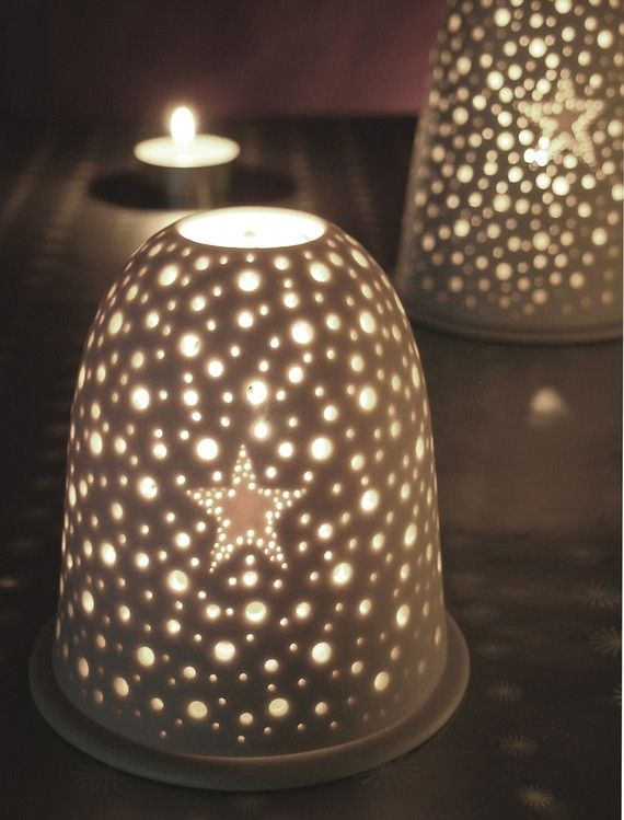 Small Star Pierced Star Tea light holder Night light Porcelain Candle holder