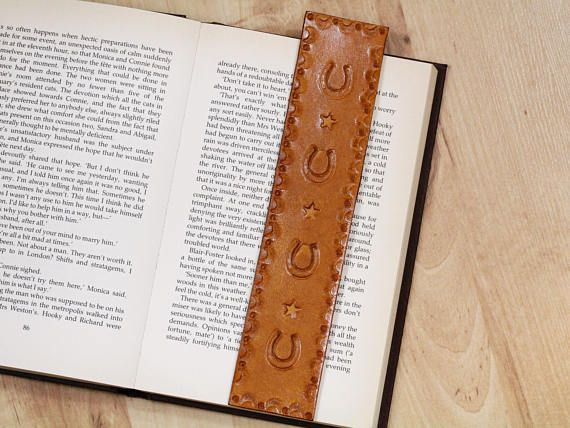 Handmade Bookmark, Hand Tooled Leather Bookmark, Horseshoe Bookmark, Horse Gift. Repin To Remember.