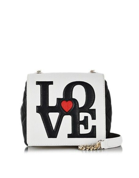 LOVE MOSCHINO WHITE & BLACK QUILTED ECO LEATHER CROSSBODY BAG